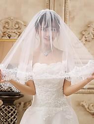 Wedding Veil Two-tier Fingertip Veils Lace Applique Edge 59.06 in (150cm) Lace