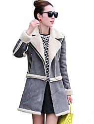 Women Lamb Fur Outerwear , Fleece Lining