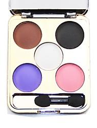 5 colores paleta de sombra de ojos con el cepillo libre