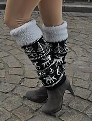 Ski Beinlinge/Knielinge / Socken Damen warm halten Snowboards Schwarz Blumen / Pflanzen Freizeit Sport Winter