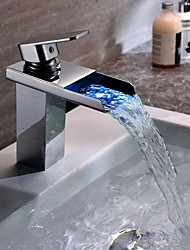 Charmingwater Contemporary  Color Changing LED Waterfall Chrome Bathroom Sink Faucet