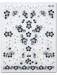 5PCS Black White Flower Top Grade Nail Art Stickers YD-10