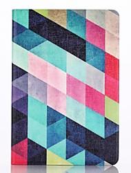 motif multicolore en treillis étui en cuir PU avec protection d'écran et un stylet pour iPad mini-3/2/1