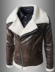 Charels Men's Korean Fashion Slim Coat Leather Clothing