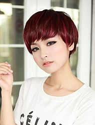 Temperament Fashion Side Bang Wine Short Straight Hair Wig
