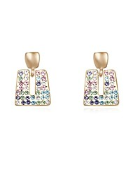 Women's Crystal Pave Openworkd Square Shape Gold-plated Alloy Stud Drops Earrings (More Colors)