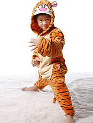 Kigurumi Pijamas Tiger Malha Collant/Pijama Macacão Festival/Celebração Pijamas Animal Preto / Amarelo Miscelânea Flanela Kigurumi Para