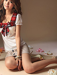 School Pattern Bowknot Embellished T-shirt White