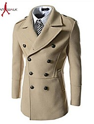 MANWAN WALK®Men's Korean Design Casual Slim Fit Coat with Double Breasted.Winter Solid Warm Trench.