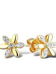 Fashion (Flower Shape) Cubic Zirconia Sterling Silver Yellow Gold Plated Earring