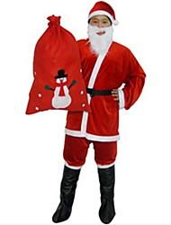 dos homens adultos terno de Santa com saco do presente