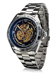 Men's Auto-Mechanical Hollow Dial Steel Band Wrist Watch (Assorted Colors) Cool Watch Unique Watch
