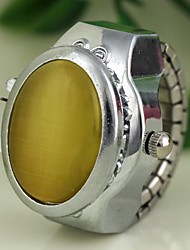 Women's Jade Style Cover Silver Alloy Quartz Ring Watch (Assorted Colors)