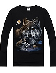 Men's Round Neck Personality Printing Long Sleeve T-shirt