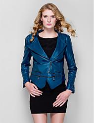 versão coreana de couro pu skinny slim casaco jaqueta de manga longa das mulheres (mais cores)