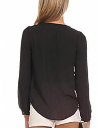 tiefem V-Ausschnitt einfarbig Bluse