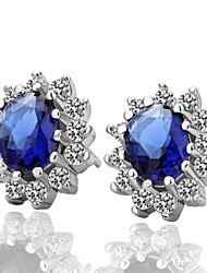 Earring Stud Earrings Jewelry Party / Daily Platinum Plated Blue