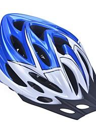 moda unisex y de alta transpirabilidad pc + epp casco de bicicleta con visera desmontable (22 tiros) - azul + blanco