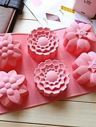 6 buracos 3 tipos forma de flor molde do bolo