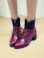 Winble Women's Fashion Causual Comfortable Mid Heel Temperament Tie Pointy Martin Boots