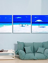 Personalized E-HOME® Canvas Print Summer Beach 30x30cm 40x40cm 60x60cm Framed Canvas Painting Set of 3