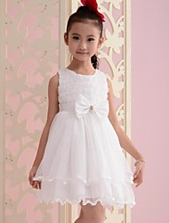 blanco de la muchacha se levantó de flores arco del partido tul vestidos del desfile de cumpleaños de la princesa de la ropa los niños