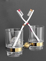 HPB AntiqueTi-PVD and Emmarble Finish Brass Wall Mounted Toothbrush Holder with Glass Cups