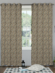 Two Panels Country / Designer Floral / Botanical Multi-color Bedroom Polyester Panel Curtains Drapes