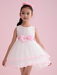 Girl's Lovely Rose Flower Pink Bow Party Birthday Pageant Princess Kids Clothing Dresses