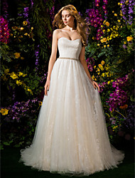 LAN TING BRIDE Ball Gown Wedding Dress Floral Lace Chapel Train Sweetheart Tulle with Sash / Ribbon Sequin