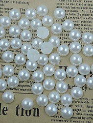 200PCS White Flatback Semicircle Pearl Gems 10mm Handmade DIY Craft Material/Clothing Accessories