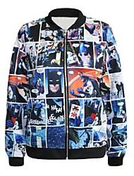 PinkQueen® Women's Spandex Batman Collection   Printed Crew Neck Jacket