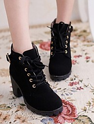 Beauty Gril  Combat Boots Round Toe Low Heel Ankle Boots