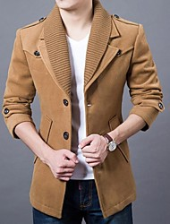 Men's Solid Casual Coat,Cotton Blend / Tweed Long Sleeve-Black / Blue / Green / Red / Yellow / Gray