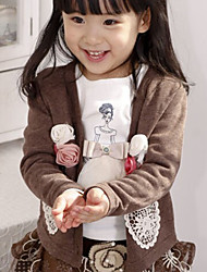 Chic Flower Embellished Little Girl's Coat Coffee
