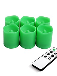 Set of 6 Green Color Plastic LED Votive Candles with Remote and Timer