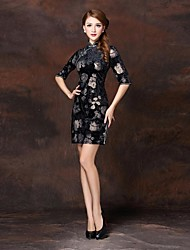Women's Formal Vintage Dress,Print Above Knee ½ Length Sleeve Black Polyester All Seasons / Spring / Fall / Winter