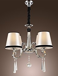 Vintage Chandelier, 4 Light, Classic Fabric Metal Painting