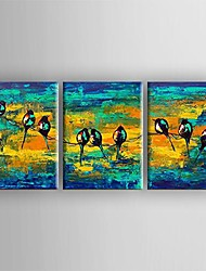 Oil Painting Modern Abstract Bird Set of 3 Hand Painted Canvas with Stretched Framed