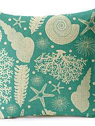 conchas do mar padrão de algodão / fronha decorativo linho