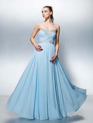 A-Line Sweetheart Floor Length Georgette Prom Formal Evening Dress with Beading Crystal Detailing Criss Cross Ruching by TS Couture®