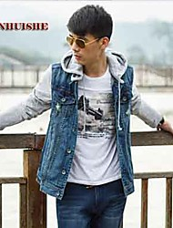YHS®Men Denim Hooded Blazer Jackets 309