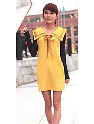 Cute Turndown Collar Bowknot Dress Yellow
