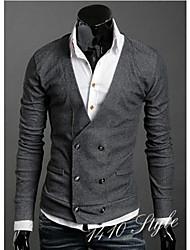 Black Man All Match V Neck Solid Color Suit