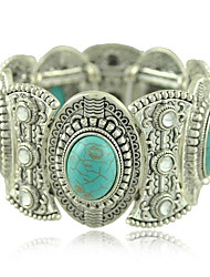 Trendy Tibetan Silver Jewelry Metal Carving Turquoise Crystal Wide Bangles & Bracelets