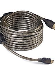 USB2.0 к Mini USB 5pin т-образный интерфейсный кабель передачи данных для Canon / Nikon (10м, прозрачный черный)