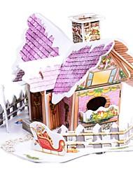 desenvolver habilidades de pensamento quebra-cabeça de natal diy papel-cabeça 3d - Christmas Cottage b368-2 (22pcs)