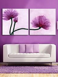 E-Home® Leinwand Kunst lila Blüten dekorative Malerei Satz 2