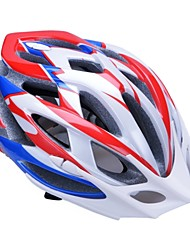 mode unisexe et haute respirabilité pc + epp casque de vélo avec pare-soleil amovible (24 évents) - rouge + bleu + argent