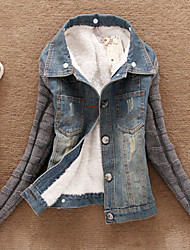 Джуди jucyi женщин Корея Стиль факс меховой воротник джинсовой пальто